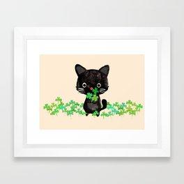 The Luckiest Cat Framed Art Print