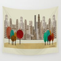 los angeles Wall Tapestries featuring los angeles city by bri.buckley