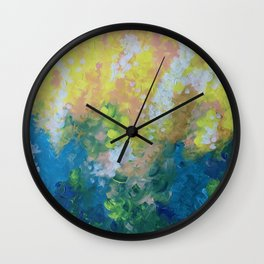 Blue Yellow Criss Cross Wall Clock