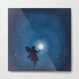 Fairy at Night Moon Metal Print