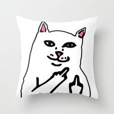 grumpy f**k you cat Throw Pillow