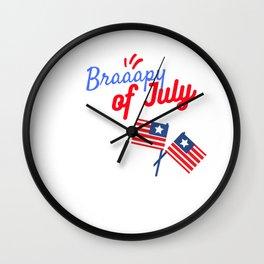 Braapy Fourth of July - July 4th Motocross Shirts - Moto MX Wall Clock