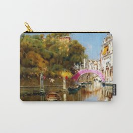 'A Sunlit Canal in Venice' landscape painting by Antonio Maria de Reyna Carry-All Pouch