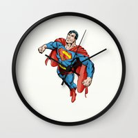 superman Wall Clocks featuring SUPERMAN by Yuliya L