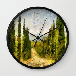 Rural landscape with cypresses Wall Clock