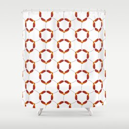 Red Japanese Maple Tree Samara Rounded Hex Pattern Shower Curtain