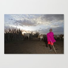 Young Shepherd Returns for the Night Canvas Print