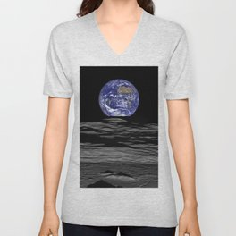 Earth from the moon Unisex V-Neck