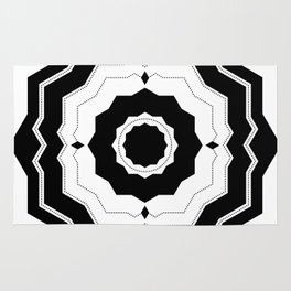 Modern Geometric Black and White Floral Rug