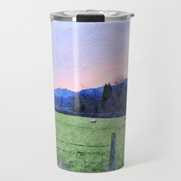 Sheep on the farm at Dawn in Grasmere,Lake District, UK Watercolour Painting Travel Mug