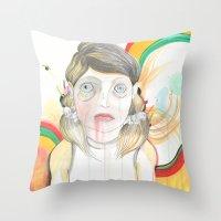 zombie Throw Pillows featuring Zombie by Raül Vázquez