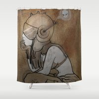 pilot Shower Curtains featuring Pilot by Captain MaryJane