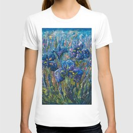Countryside Irises Oil painting with palette knife T-shirt