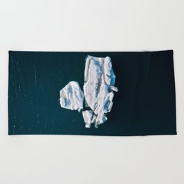 Lone, minimalist Iceberg from above - Landscape Photography Beach Towel