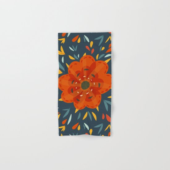 Decorative Whimsical Orange Flower Hand & Bath Towel