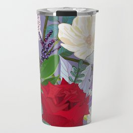 Red Rose, Orchid Red Fruits Vibrant Colorful Pattern Travel Mug