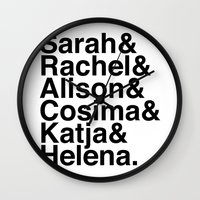 orphan black Wall Clocks featuring Orphan Black by Elanor Jarque