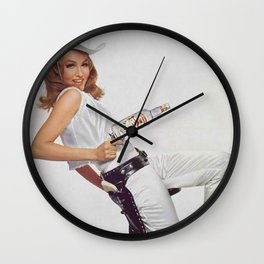 Vodka Martini - Julie Newmar Cowgirl - When I say Bloody Mary...Alcoholic Beverages Vintage Poster Wall Clock