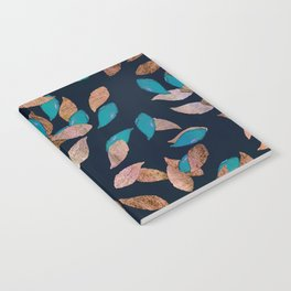Trendy navy blue rose gold teal leaves floral Notebook