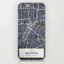 Houston Texas City Map with GPS Coordinates iPhone Case