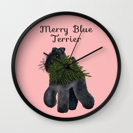 Merry Blue Terrier (Pink Background) Wall Clock