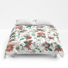 Festive Red Green Botanical Poinsettia Cactus Floral Pattern Comforters