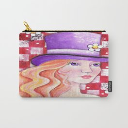 Whimiscal Girl with Purple Hat Carry-All Pouch