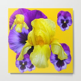 PURPLE PANSIES & YELLOW IRIS MONTAGE Metal Print