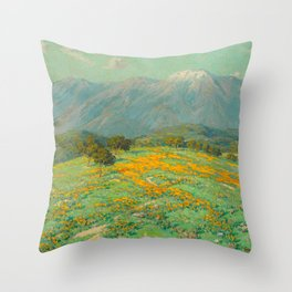 Granville Redmond snow cap spring landscape painting orange flowers green field Throw Pillow