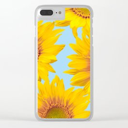 Yellow Mellow Sunflowers Blue Sky Background #decor #society6 #buyart Clear iPhone Case