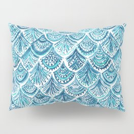 NAVY LIKE A MERMAID Fish Scales Watercolor Pillow Sham