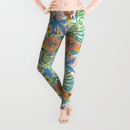 Flowers and Birds of Paradise Leggings