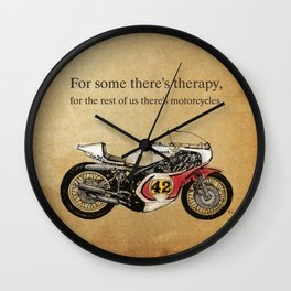 """For some there's therapy. For the rest of us there's motorcycles"" Yamaha Original Handmade Drawing Wall Clock"