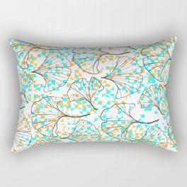 grid in yellow and blue and petals Rectangular Pillow