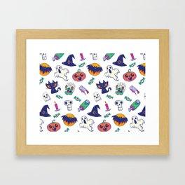 ghostly halloween pattern Framed Art Print