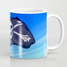 Pirate skull and crossbones flag waving on the wind Mug