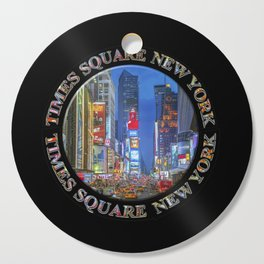 Times Square Broadway New York Badge Emblem (on black) Cutting Board