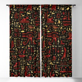 Ancient Egyptian hieroglyphic pattern Red Marble and Gold Blackout Curtain