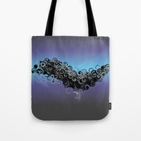 cthulu Tote Bags featuring Cthulu's Flight  by Watch House Design