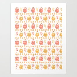 Cute cartoon decorated Easter eggs and daisy flowers Art Print