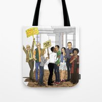 caleb troy Tote Bags featuring Welcome Home Troy by Kivitasku Designs