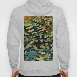 Foliage Abstract In Green, Peach and Phthalo Blue Hoody