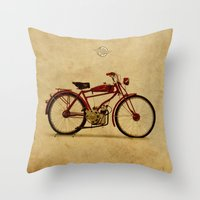 ducati Throw Pillows featuring Ducati 1950 - Classic bike by Larsson Stevensem