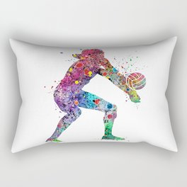 Volleyball Girl Watercolor Print Girls Room Decor Volleyball Poster Girl Volleyball Wall Art Rectangular Pillow