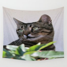 Tabby Cat Sitting In The Shade Behind Passiflora Vine Wall Tapestry