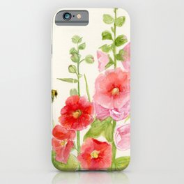 Watercolor Flower Pink Hollyhock and Bee iPhone Case