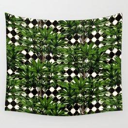 Palms on Quatrefoil Pattern - Black Gold Wall Tapestry