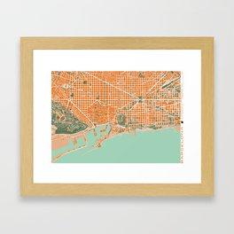 Barcelona city map orange Framed Art Print