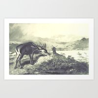 Vintage Deer Illustration 02 Art Print
