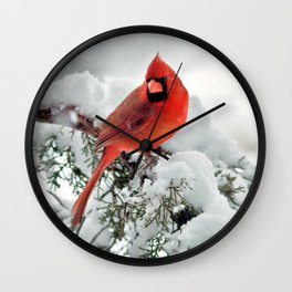 Cardinal on Snowy Branch #2 Wall Clock